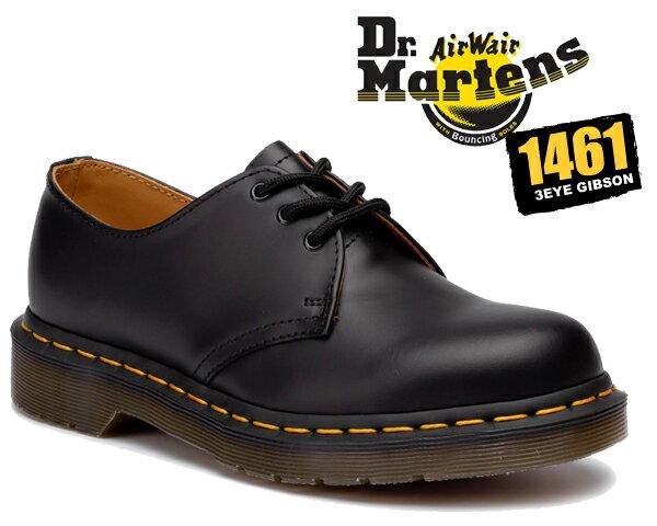お得な割引クーポン発行中!!【あす楽 対応!!】【送料無料 ドクターマーチン ブーツ 3ホール】【R11838002】Dr.Martens 1461 3EYE GIBSON BLACK ドクターマーチン 1461 3EYE SHOE 1461Z ギブソン シューズ メンズ