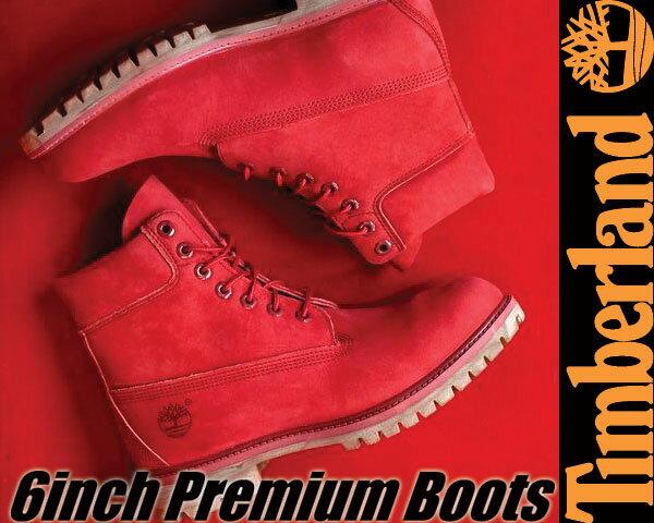 最大3,000円OFFクーポン発行中!!【送料無料 ティンバーランド ブーツ 6インチ レッド・ヌバック メンズ】Timberland 6inch Premium Boots RED NUBUCK【A1149】