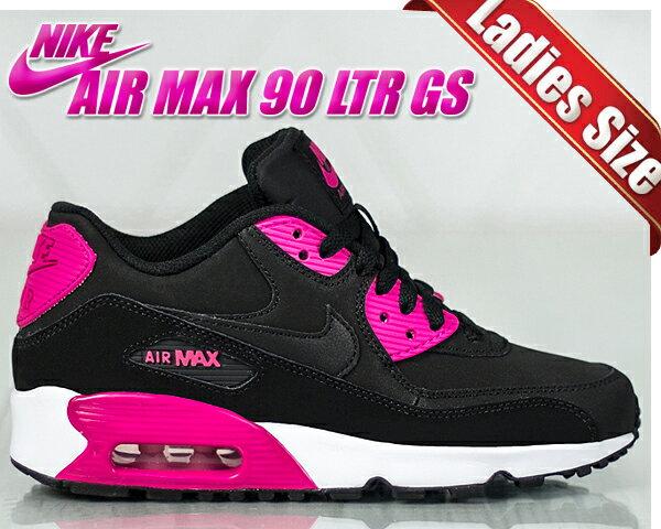 【送料無料 ナイキ エアマックス 90 GS】NIKE AIR MAX 90 LTR GS black/pink prime/white【レディース スニーカー ナイキ AIRMAX】