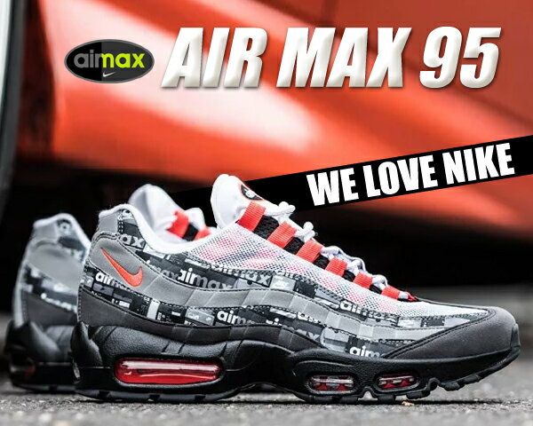 """お得な割引クーポン発行中!!【あす楽 対応!!】【送料無料 ナイキ エアマックス 95】NIKE AIR MAX 95 PRNT """"WE LOVE NIKE"""" black/bright crimson【スニーカー メンズ we love nike シューズボックス】"""