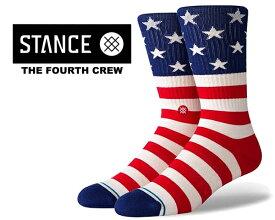 お得な割引クーポン発行中!!【あす楽 対応!!】【スタンスソックス ザ フォース クルー】STANCE THE FOURTH CREW RED a556a20fos-red 星条旗 靴下 ハイソックス