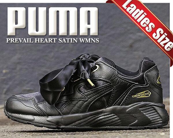 【プーマ プリベイル ハート サテン ウィメンズ】PUMA PREVAIL HEART SATIN WNS puma black/gold【スニーカー ブラック ゴールド リボン】