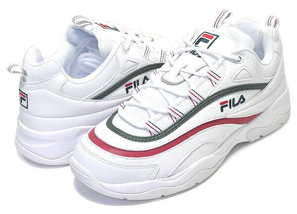 【送料無料 フィラ レイ】FILA RAY white/grn,red【メンズ レディース スニーカー ダッドシューズ ホワイト チャンキーソール  DAD SHOES FOLDER フォルダー】