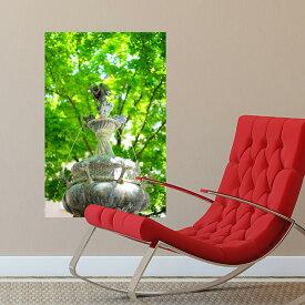 MU3アクセント壁紙 噴水 ph2046 ウォールステッカー リーフ 木 植物 木々 公園 景色 風景 緑 写真 壁画 写真 絵画 シール リメイク リフォーム トイレ 寝室 リビング ポスター インスタ 映え