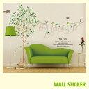 ウォールステッカー 木々と鳥 写真枠 ツリー 壁紙 北欧 激安 シールゆうメールで送料無料【代引・あす楽・日時指定不可】
