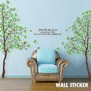 ウォールステッカー 2枚組 木 グリーン はがせる リーフ 植物 北欧 おしゃれ トイレ シール モノクロ インスタ 映え …