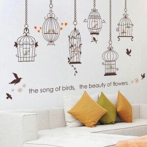 ウォールステッカー 鳥かご バードゲージ 鳥籠 モノトーン シール 北欧 壁紙 リビング 浴室 トイレ