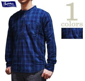 【 Pherrow's(フェローズ) 】 19W-762WS-IND バンドカラープルオーバーワークシャツ [ Band Coller Pullover Work Shirts ] [ INDIGO CHECK ] [ 長袖シャツ ] [ アメカジ ] [ メンズ ] [ 送料・代引き手数料無料 ]