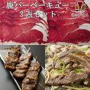 【送料無料】鹿肉 バーベキュー3点ジビエセット!(肩2mmスライス300g/バラ焼肉220g/串焼き10本)[工場直販:北海道エゾ鹿肉使用]