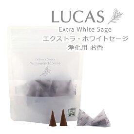 LUCAS エクストラ・ホワイトセージ 浄化用 お香 (インセンス) 10個入り 【日本製・香料不使用・天然成分100%】