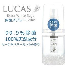 ハーブ除菌スプレー(除菌率99.9% 天然成分100%) LUCAS ルカス 20ml ポケットタイプ(外出用)| マスクスプレー アルコール 手 ウィルス対策 細菌対策 花粉 抗菌 予防 感染防止 携帯用 日本製