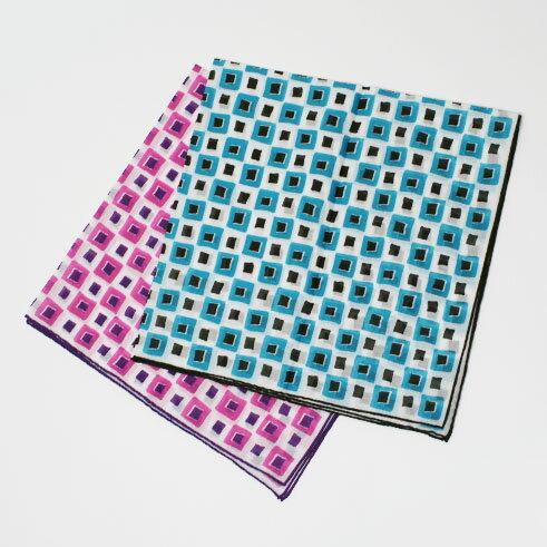 新作 FRANCO BASSI (フランコバッシ) 幾何学柄 コットン スカーフ【3.ピンク/4.ライトブルー】【送料無料】