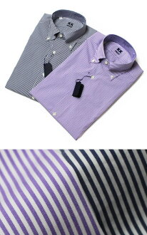 New k-k shirt (shirt k-k) and Milan departing from cotton stretch stripe pattern button-down shirt