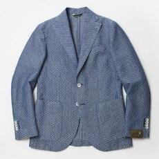 S/S新作L.B.M.1911(エルビーエム1911)/FLY(フライ)/ウォッシュドコットンリネン小紋織柄2B3パッチシングルジャケット【インディゴ】【送料無料】