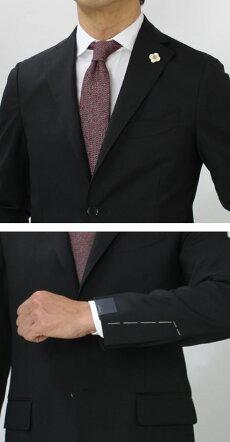 【国内正規品】S/S新作LARDINI(ラルディーニ)/ウール3釦段返りノータックスーツ【ブラック】【送料無料】