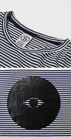 S/S新作SOHO(ソーホー)/コットンボーダープリントTシャツ【ネイビー】【送料無料】