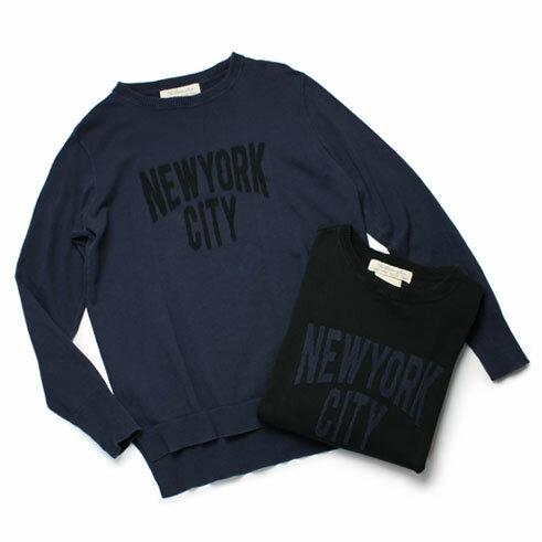 春夏アウトレット【均一SALE】【10000】REMI RELIEF ( レミレリーフ ) / NEW YORK CITY ロゴ インターシャニット クルーネックトップ【ネイビー/ブラック】【送料無料】【S10】