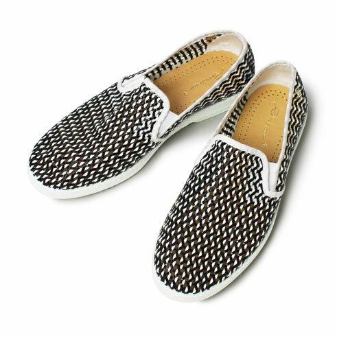 【国内正規品】【LADIES】【SALE 70】春夏 Rivieras Leisure Shoes / リヴィエラ レジャー シューズ / LOAD NOIR / レザー メッシュ スリッポン【ブラック】【送料無料】