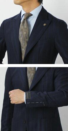 【国内正規品】F/W新作G.Pasini(ガブリエレパジーニ)/ウールピークドラペル3B段返りシングルジャケット【ネイビー】【送料無料】