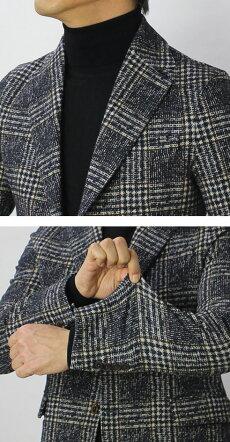 【国内正規品】F/W新作CIRCOLO1901(チルコロ1901)/カシミヤタッチコットングレンチェック柄プリントジャージージャケット【ネイビー】【送料無料】