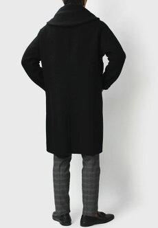 【国内正規品】F/W新作Hevo(イーヴォ)/ウールダブルフェイス1枚仕立てフーテッドコート【ブラック】【送料無料】