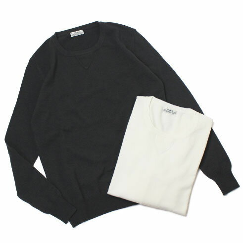 【SALE30】F/W 新作 ORIGINAL VINTAGE STYLE ( オリジナル ヴィンテージ スタイル ) / ウール クルーネック ニット Tシャツ【ホワイト/チャコール】【送料無料】