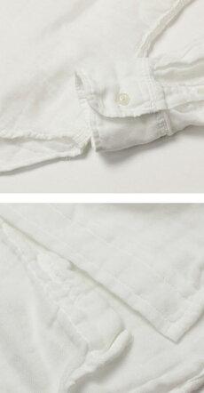 【国内正規品】【MEN】S/S新作YANUK(ヤヌーク)/コットン二重織りガーゼシャツ【ホワイト】【送料無料】