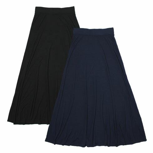 【S/S OUTLET】【SALE30】【国内正規品】【WOMEN】three dots ( スリードッツ ) / long skirt / レーヨン ロング スカート【ネイビー/ブラック】【送料無料】