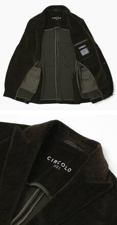 【国内正規品】F/W新作CIRCOLO1901(チルコロ1901)/コットンベルベットジャージィピークドラペル2Bシングルジャケット【ブラウン/ブラック】【送料無料】