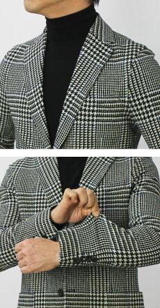 【国内正規品】F/W新作CIRCOLO1901(チルコロ1901)/カシミヤタッチコットングレンチェック柄プリントジャージージャケット【ブラック】【送料無料】