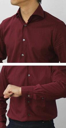 F/W新作BAGUTTA(バグッタ)/MILANOモデル/Albini社コットンスーパーソフトライトフランネルセミワイドカラーシャツ【ボルドー/ブラウン】【送料無料】