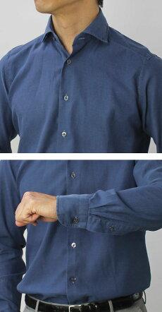 F/W新作BAGUTTA(バグッタ)/MILANOモデル/コットンスーパーライトインディゴデニムセミワイドカラーシャツ【インディゴ】【送料無料】