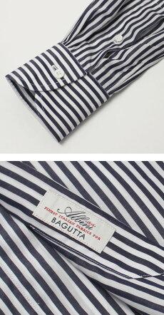 F/W新作BAGUTTA(バグッタ)/MILANOモデル/Albini社×テンセルロンドンストライプ柄セミワイドカラーシャツ【ネイビー】【送料無料】