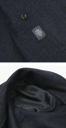 F/W新作eleventy(イレブンティ)/ウールコットンジャカードミニヘリンボン柄ジャージー2Bシングルジャケット【ネイビー】【送料無料】