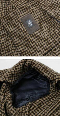 F/W新作eleventy(イレブンティ)/ウールハウンドトゥース柄ジャージー6Bダブルブレストニットジャケット【キャメル】【送料無料】