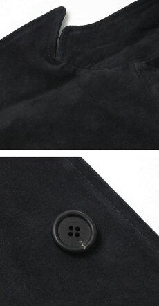 【国内正規品】F/W新作EMMETI(エンメティ)/JERARD/スエードジングルピークゴートスキンチェスターコート(中綿入り)【ネイビー】【送料無料】