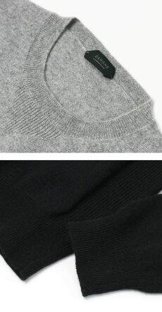 【国内正規品】F/W新作ZANONE(ザノーネ)/12Gカシミヤウールクルーネックニット【4868.ライトグレー/4338.ブラック】【送料無料】