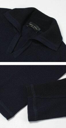 F/W新作robertocollina(ロベルトコリーナ)/RY50015/ウール切り替えスキッパースタンドカラーハイゲージニット【ネイビー】【送料無料】