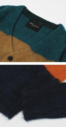 F/W新作robertocollina(ロベルトコリーナ)/RY12210B/キッドモヘヤ&ベビーアルパカウールマルチボーダーカーディガン【ミックス】【送料無料】