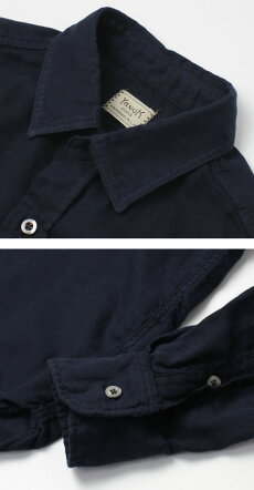 【国内正規品】【MEN】S/S新作YANUK(ヤヌーク)/コットン二重織りガーゼシャツ【ネイビー】【送料無料】