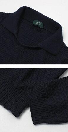 【国内正規品】S/S新作ZANONE(ザノーネ)/GIROPOLO/12Gコットンクレープ襟付きジャカードニット【3339.ベージュ/0542.ネイビー】【送料無料】