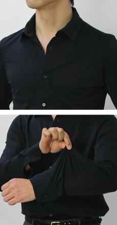 【国内正規品】S/S新作Cruciani(クルチアーニ)/コットンシルケット加工ジャージー長袖シャツ【ホワイト/ネイビー】【送料無料】