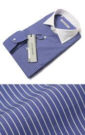 ギローバー / GUY ROVER / ドレス シャツ / セミワイド クレリック コットン ストライプ【ブルー】【SALE30】
