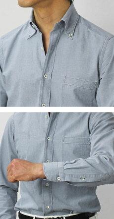 【国内正規品】新作GIANNETTO(ジャンネット)/コットンシャンブレーボタンダウンシャツ【ユーズドブルー】【送料無料】