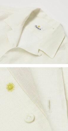 【国内正規品】新作GIANNETTO(ジャンネット)/リネンオープンカラー長袖開襟シャツ【オフホワイト】【送料無料】
