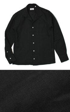 【国内正規品】新作GIANNETTO(ジャンネット)/リネンオープンカラー長袖開襟シャツ【ブラック】【送料無料】