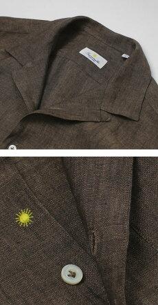 【国内正規品】新作GIANNETTO(ジャンネット)/リネンオープンカラー長袖開襟シャツ【ブラウン】【送料無料】