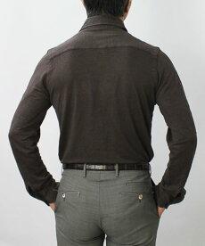 S/S新作JEORDIE'S(ジョルディーズ)/リネンジャージーセミワイドカラーシャツ【ホワイト/ブラウン】【送料無料】