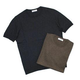グランサッソ / GRANSASSO / Tシャツ / 18G シルク100% クルーネック メランジニット【ブラウン/ネイビー】【SALE 50】