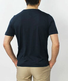 S/S新作H953(アッカノーヴェチンクエトレ)/シルクVネックTシャツ【オフホワイト/ネイビー】【送料無料】